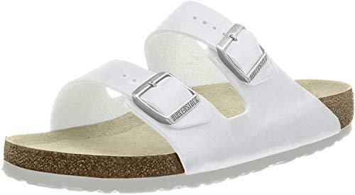 Birkenstock Classic Arizona Birko-Flor Unisex-Erwachsene Pantoletten, Weiß (WEISS), 43 EU