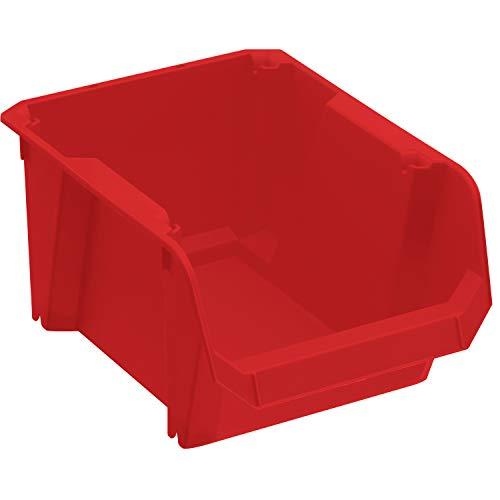 Stanley STST82736-1 opslagdoos #2 (rood, slagvast polypropyleen, stapelbaar, wandmontage mogelijk, ideaal voor het opbergen van kleine onderdelen, gereedschappen, accessoires, enz.)