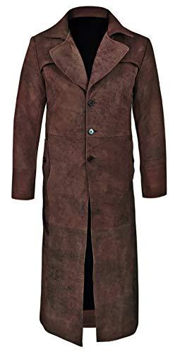 So-Shway Ledermantel Herren Trenchcoat Herren Lange Jacke Herren Vintage Distressed Herrenmantel (Dunkelbraun, L)