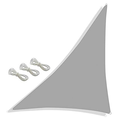 YYGG Toldo Vela de Sombra Triangular, 98% Protección UV Vela Solar en Poliéster Resistente a Desgarro y Intemperie, Vela de Sombra Protección UV para Patio, Exteriores, Jardín, Color Beige