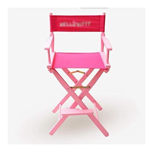 YANGYUAN Sillas plegables silla de maquillaje rosa director de madera Oxford tela profesional artista de maquillaje directores al aire libre silla móvil para interior al aire libre