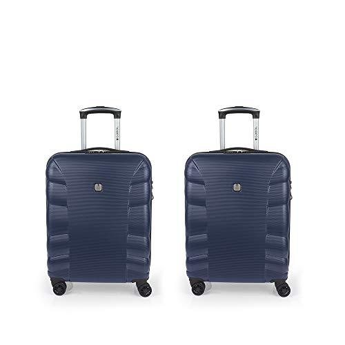 Gabol - London   Juego de Maletas de Viaje Rigidas de Color Azul con 2 Maletas de Cabina