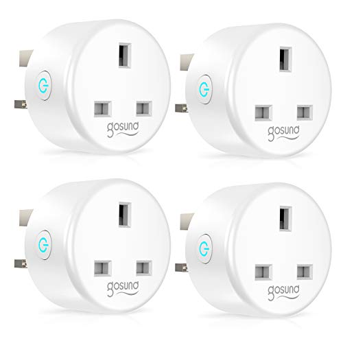 Smart Plug, Gosund 13A WiFi Socket Plug Works with Amazon Alexa, Google Home, Remote Control Wireless Outlets with Timer Function, Energy Monitoring, No Hub Required, 4 Pack