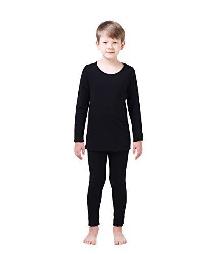 Modal Cotton Thermal Long Underwear Set Breathing Base Layer Long John Pajama Boy Girl Toddler (2~3 Year, Black)