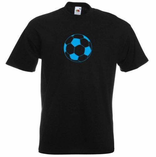 Para hombre algodón camiseta de fútbol impreso nuevo diseño Negro Black - Blue Print Medium
