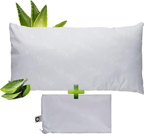 Q Pillow | Suave, Confortable, Almohada Estándar de 40x80 cm con Funda de Almohada de Aloe Vera Incluida. Almohada de Calidad Hotelera Lista para Usar en Casa