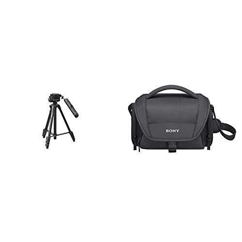 Sony VCTVPR1.CE7 - Trípode con Mando a Distancia, Color Negro + LCSU21B.SYH - Bolsa de Transporte para cámara/videocámara, Color Negro