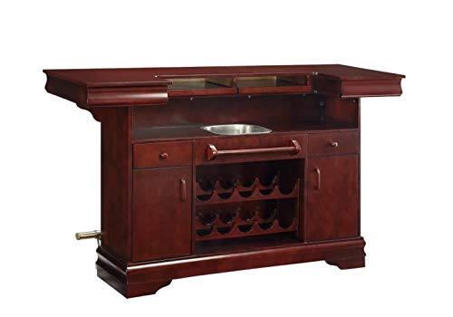 Hot Sale Coaster Traditional Cherry Finish Bar Unit w/Wine Rack Sink Drawers