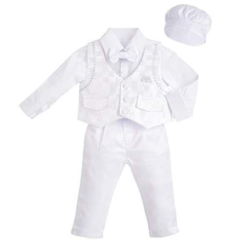 Lito Angels - Completo Abito Bianco da Battesimo per Neonato Bimbo, 5 Pezzi Set (Gilet, Camicia, Pantaloni, Papillon e Cappello), Taglia 9 Mesi, Manica Lunga, Check