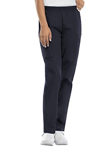 CHEROKEE Women's Workwear Elastic Waist Cargo Scrubs Pant, Pewter, X-Large-Petite