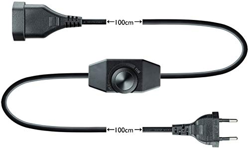 LED Dimmer, 1-60 Watt stufenlos dimmen (Schnurdimmer Drehdimmer) dimmbare LED, 220-230V, CE In-Line Dimmschalter, Zwischendimmer ab 1 Watt, Schwarz, Geräuschlos, Buchenbusch Urban Design