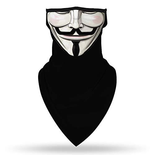 SRVOKOX Anonymous V Skeleton Ghost Zombie Joker Sugar Skull Bandana Neck Gaiter Face Mask Covering Ear Loop Hole Triangle Bandanas for Men Women Summer UV Face Scarf Mask Cover for Fishing