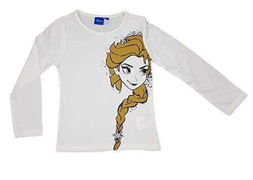 Disney Camiseta Infantil Frozen niñas Manga Larga 100% algodón (5 años, Blanco)