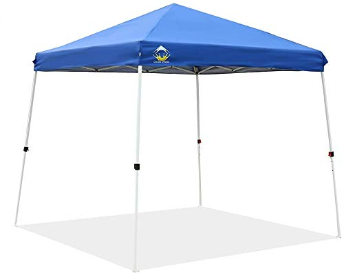 CROWN SHADES Patented 11ft. x 11ft. Slant Leg One Push Up Clia Instant Folding Canopy with Wheeled Bag, Blue
