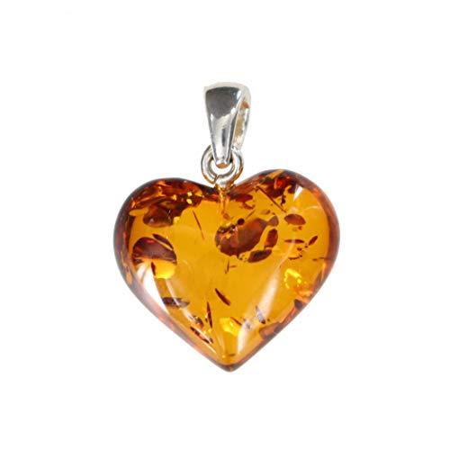 Artisana, ciondolo a forma di cuore con ambra e un occhiello in argento sterling 925/000