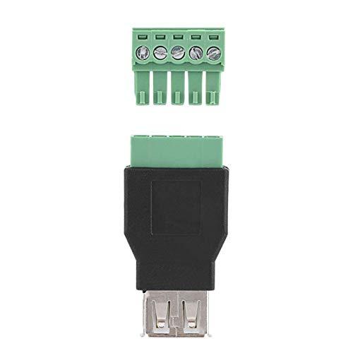 Conector Tipo A Hembra a Tornillo de 5 Pines, 1 Pieza USB 2.0 Tipo A Hembra Jack a 5 Pines Conector Adaptador de Tornillo con Terminal de blindaje Adaptador de Enchufe Convertidor de Conector