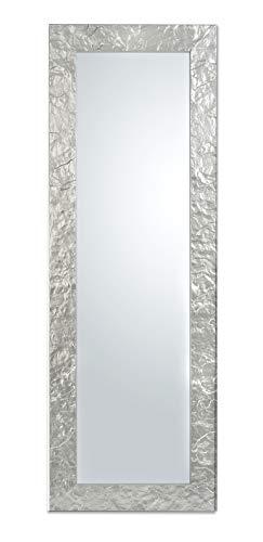 MO.WA Specchio da Parete Argento Cornice Legno cm. 50x145 da Appendere al Muro Sia in Verticale Che in Orizzontale. Made in Italy.
