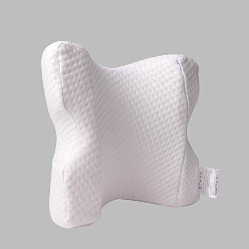 LOCYOP Cuddle Pillow Couple Pillow Arched Shaped Arm Pillow Cervical Neck Pillow Memory Foam Pillow Tunnel Pillow Slow Rebound Pressure Pillow Travel Sleeping with Eyemask and EarPlugs (Whiter)