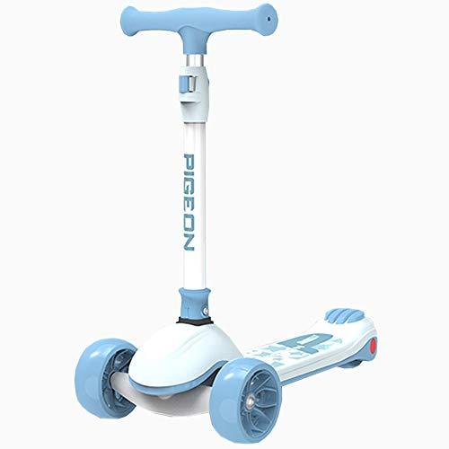 LJHBC Patinete Scooter de 3 Ruedas Altura Ajustable Plegable Scooter de Patada de dirección con Rueda de PU Intermitente 59-78cm (Color : Blue)