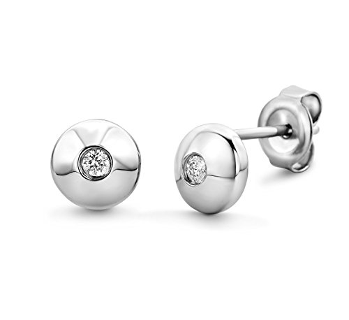Miore Ohrringe Damen Solitär  925 Sterling Silber Ohrstecker   Diamant Brillianten 0.06 ct