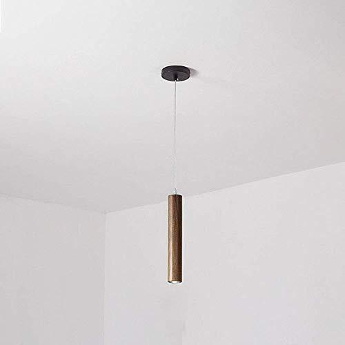 WEM Accesorio de iluminación colgante LED Lámpara de techo moderna, Lámpara colgante de nogal Lámparas de suspensión de cabecera de dormitorio nórdico para sala de estar Cafe Bar Comedor, Mini candel