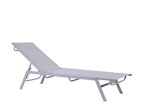 Contemporary Garden Sun Lounger Steel Textile Reclining Grey Silver Noli