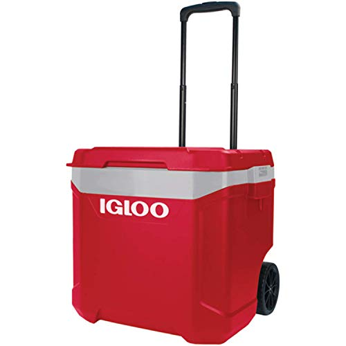 IGLOO Unisex's Latitude 60 Roller Cool Box, 57 Liter, Red, 56 x 47 x 51