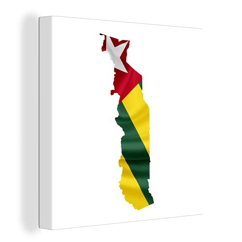 Leinwandbild - Eine Illustration der Flagge von Togo in der Form des Landes - 120x90 cm