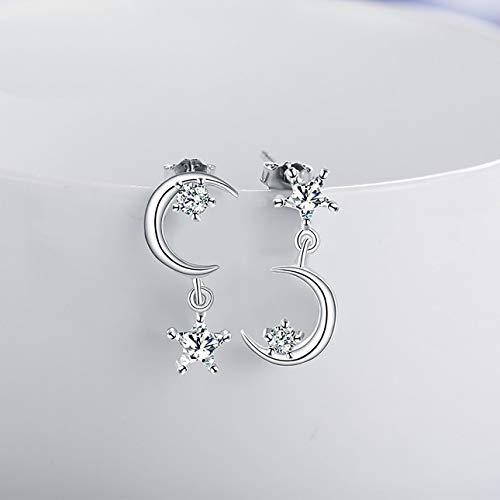 Ba30DEllylelly Asymmetrisches Design Moon Star weibliche Ohrringe Drop Dangle Ohrringe für Frauen Mode personalisierte Schmuck Geburtstagsgeschenk