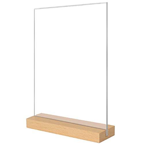 メニュー サイン ホルダー POP 広告 スタンド 卓上 カード 立て 透明 木製 (A5 縦)