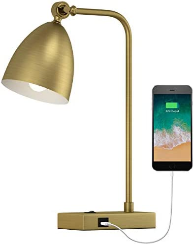 OYEARS USB Desk Lamp Mid Century Modern Reading Lamp Office Metal Gold 18 Work lamp for Bedroom product image