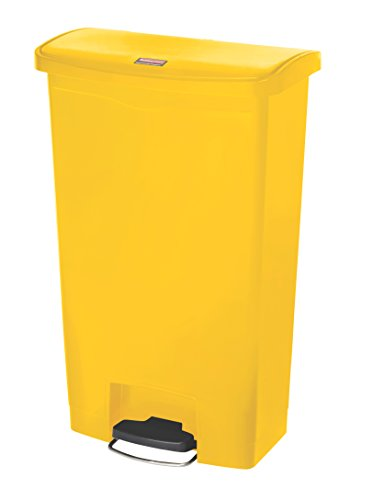 Rubbermaid Commercial Products 1883577 Step-On Pattumiera in Plastica, Front Step, Apertura a Pedale, 68 L, Giallo
