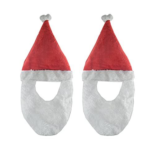 Erthree Santa Hat Siamés corto barba tema de Navidad accesorios de fotografía disfraces divertidos accesorios para hombres y mujeres (tamaño: 2 piezas)