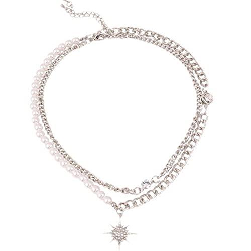 Collar de doble capa de perlas de perlas de estrella de ocho puntas 2021 Nuevas nuevas mujeres personalizadas chokers collares collar de clavícula