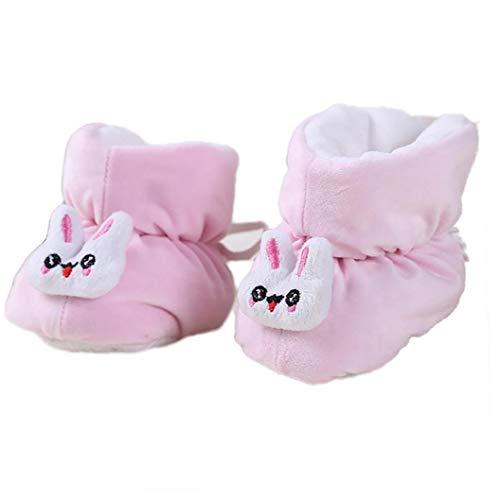linjunddd 2018 Winter-Neugeborene Baby-Schuh-Mädchen-Junge-erster Wanderer Cotton Padded warme gemütliche 0-6 Monate weichbesohlte Schuhe Keep-Anti Skid Boot (pink)
