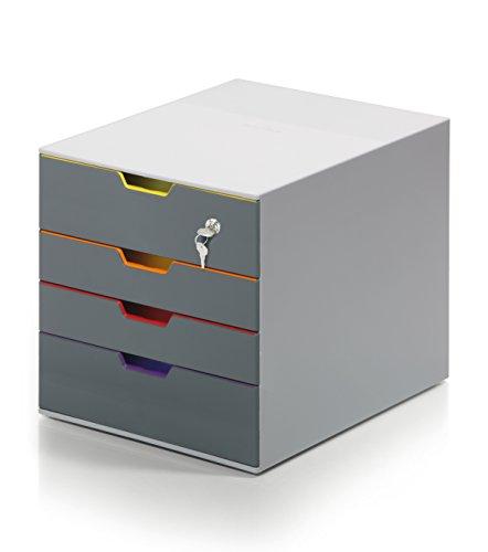 Durable 7706 Varicolor Schubladenbox (Schubladenbox, 4 Schubladen abschließbar)
