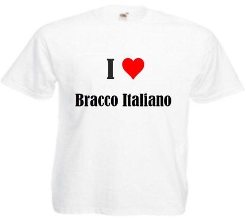T-Shirt I Love Bracco Italiano Größe 4XL Farbe Weiss Druck Schwarz
