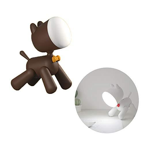 Luz nocturna, lámpara de escritorio LED Puppy, cuidado de los ojos, habitación del bebé, puerto de carga USB, lámpara nocturna y 2 modos de iluminación, lámpara de escritorio de lectura,Marrón