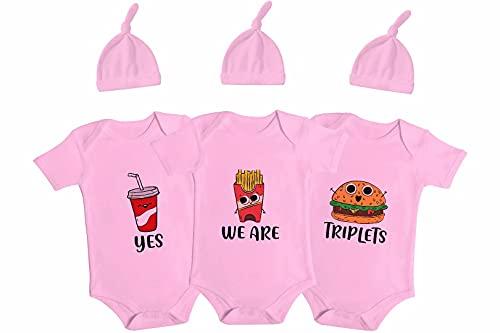 Culbutomind Baby Twins Body Hamburger Triplets Baby Gifts Infant Abiti, rosa, 6 mesi