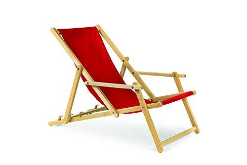 Holz Gartenliege Strandliege Liegestuhl Sonnenliege mit Armauflagen (Rot)