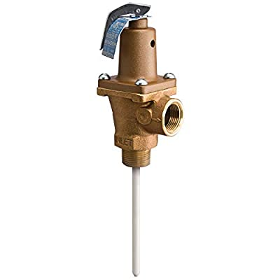 1 in Lead Free Brass Automatic Reseating T and P Relief Valve, 150 psi, 210 Degree F, Test Lever, 5 in Extension Thermostat by Watts