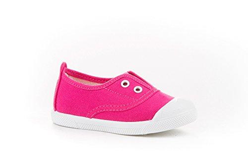 Zapatillas de Lona con Puntera Reforzada para Niños y Niñas, Angelitos mod.124, Calzado infantil Made in Spain, Garantia de Calidad. (28, Rosa Fucsia)