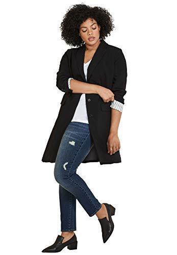 ellos Women's Plus Size Long Boyfriend Blazer - 12, Black