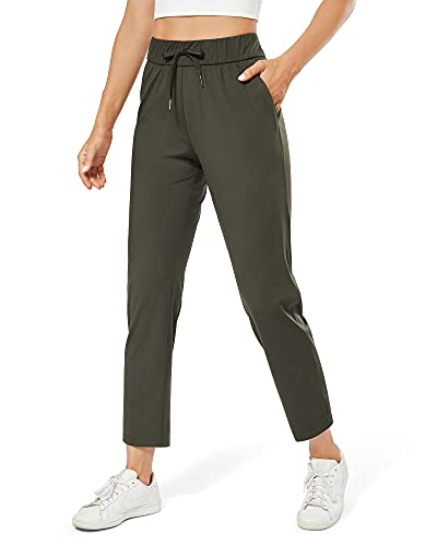 G4Free Women's Athletic Pants Ankle Sweapants Travel Drawstring 7/8 Stretch Pants for Workout Joggers Capri (Olive Green, XL)