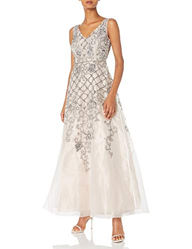 Adrianna Papell Women's Sleevless Beaded Organza V Neck Ball Gown, Ivory/Nude, 16