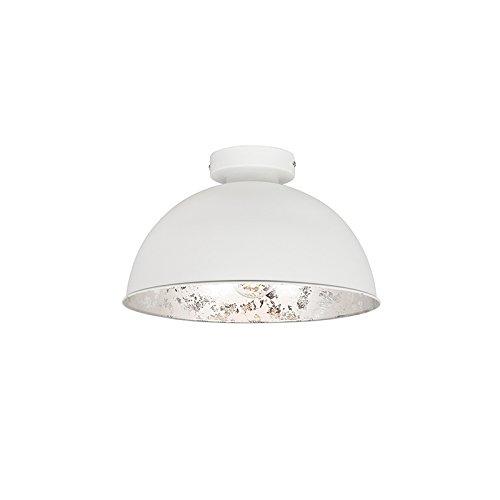 QAZQA Landhaus/Vintage/Rustikal Weiße Deckenlampe mit Silber 30 cm - Magna Basic/Innenbeleuchtung/Wohnzimmerlampe/Schlafzimmer/Küche Stahl Rund LED geeignet E27 Max. 1 x 40 Watt