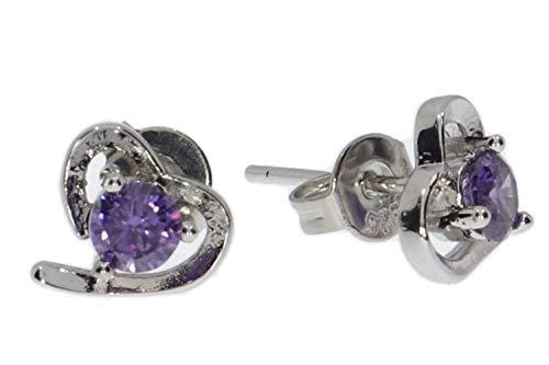 Pendientes con diseño de corazón de circonita lila de plata de ley 925, portalámparas HS1107