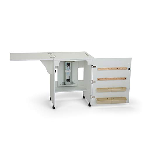 Arrow 501 Sewnatra Sewing Cabinet for Sewing, Cutting, Quilting, Crafting, with Storage and Airlift, Portable with Wheels, White Finish