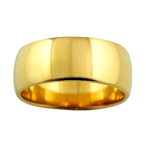 [ジュエリーアイ] 甲丸 指輪 8ミリ幅 リング メンズ シンプル 結婚指輪 マリッジリング ブライダル 単品 日本製 イエローゴールドK18 K18YG 22号