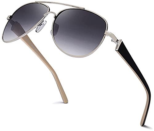 Hatstar - Gafas de sol de piloto para mujer, con patillas lacadas y brillantes Negro Marco plateado y negro, cristal gris degradado.